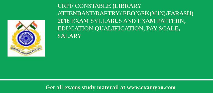 Crpf Constable Syllabus 2016 Pdf Details