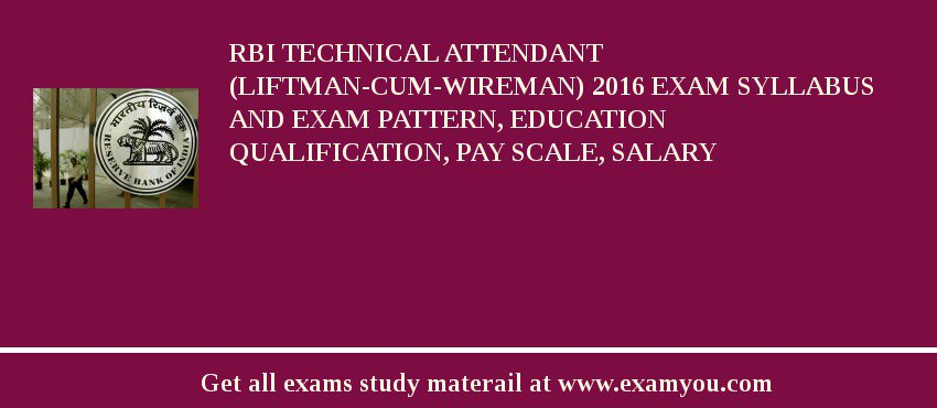 RBI Technical Attendant (Liftman-cum-Wireman) 2017 Exam Syllabus And Exam Pattern, Education Qualification, Pay scale, Salary