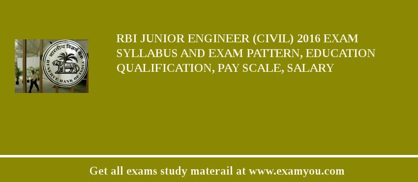 RBI Junior Engineer (Civil) 2016 Exam Syllabus And Exam Pattern, Education Qualification, Pay scale, Salary