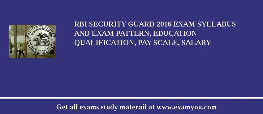 RBI Security Guard 2016 Exam Syllabus And Exam Pattern, Education Qualification, Pay scale, Salary