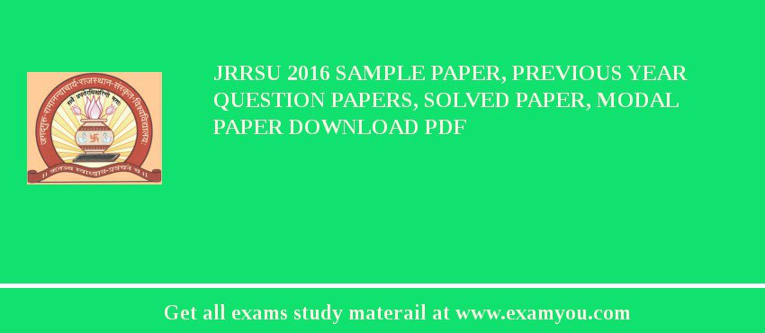 jrrsu 2018 sample paper previous year question papers solved paper