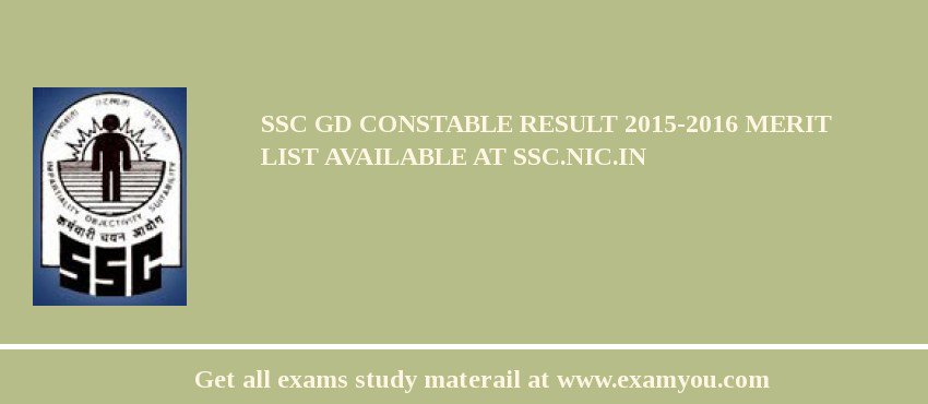 SSC GD Constable Result 2017-2016 Merit List Available at ssc.nic.in