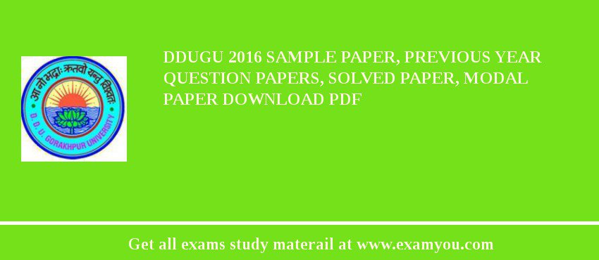 Ddugu  Sample Paper Previous Year Question Papers Solved Paper