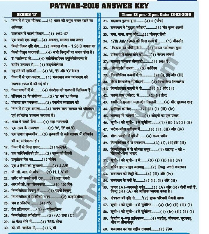 patwari shri ram answer key