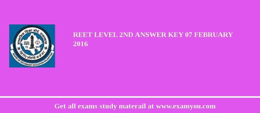 REET Level 2nd Answer key 07 February 2017