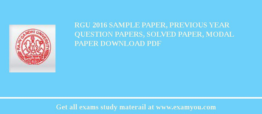 RGU 2018 Sample Paper, Previous Year Question Papers, Solved