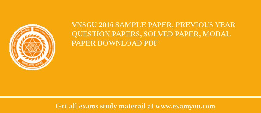 VNSGU 2018 Sample Paper, Previous Year Question Papers