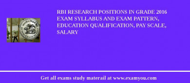 RBI Research Positions in Grade 2016 Exam Syllabus And Exam Pattern, Education Qualification, Pay scale, Salary