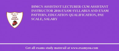 IHMCN Assistant Lecturer cum Assistant Instructor 2016 Exam Syllabus And Exam Pattern, Education Qualification, Pay scale, Salary