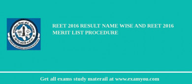 REET 2018 Result Name Wise and REET 2018 Merit List Procedure
