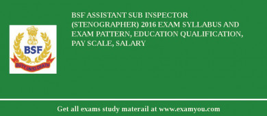BSF Assistant Sub Inspector (Stenographer) 2017 Exam Syllabus And Exam Pattern, Education Qualification, Pay scale, Salary