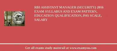 RBI Assistant Manager (Security) 2016 Exam Syllabus And Exam Pattern, Education Qualification, Pay scale, Salary