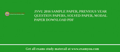 JNVU 2017 Sample Paper, Previous Year Question Papers, Solved Paper, Modal Paper Download PDF