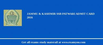 Jammu and Kashmir Service Selection Board (JKSSB) Patwari Admit Card 2018