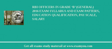 RBI Officers in Grade 'B' (General) 2016 Exam Syllabus And Exam Pattern, Education Qualification, Pay scale, Salary