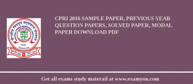 CPRI (Central Power Research Institute) 2018 Sample Paper, Previous Year Question Papers, Solved Paper, Modal Paper Download PDF