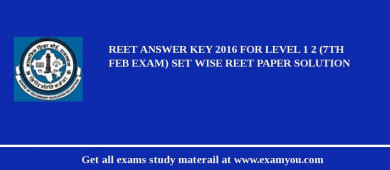 Answer Key for REET 2018 for Level 1 and 2 (7th Febuary Exam) Set Wise REET Paper Solution