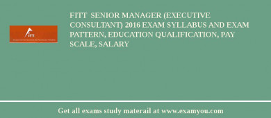 FITT  Senior Manager (Executive Consultant) 2017 Exam Syllabus And Exam Pattern, Education Qualification, Pay scale, Salary