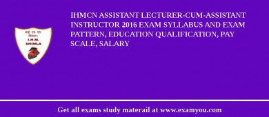 IHMCN Assistant Lecturer-cum-Assistant Instructor 2016 Exam Syllabus And Exam Pattern, Education Qualification, Pay scale, Salary