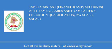 TSPSC Assistant (Finance & Accounts) 2017 Exam Syllabus And Exam Pattern, Education Qualification, Pay scale, Salary