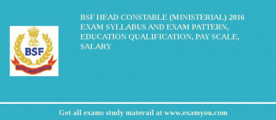 BSF Head Constable (Ministerial) 2017 Exam Syllabus And Exam Pattern, Education Qualification, Pay scale, Salary